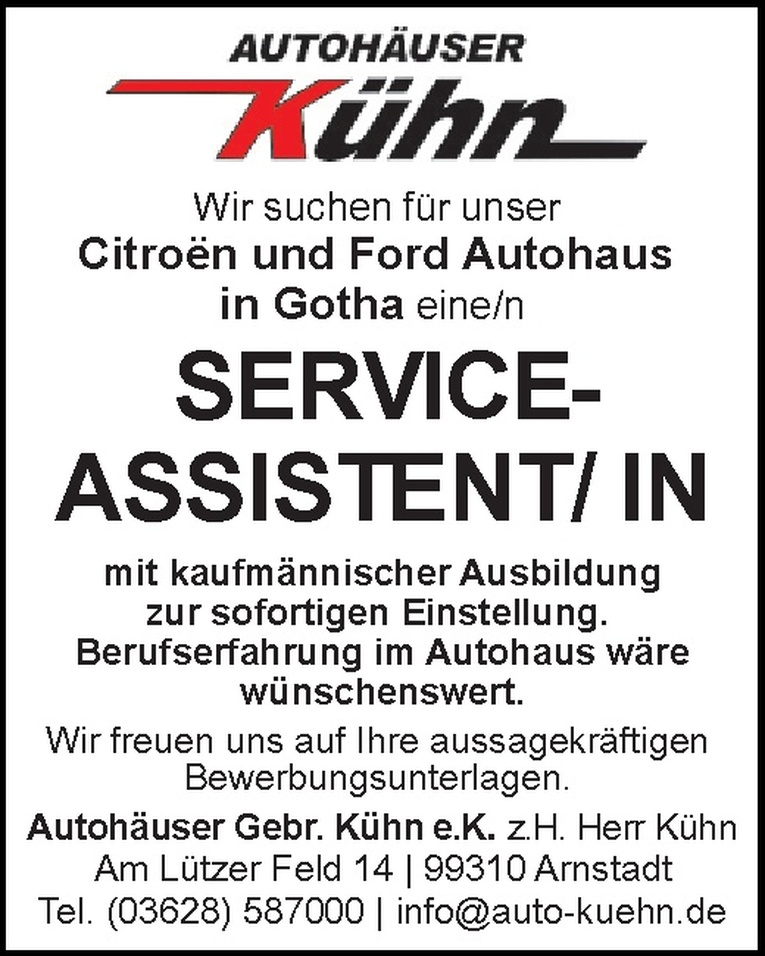 Serviceassistent/in
