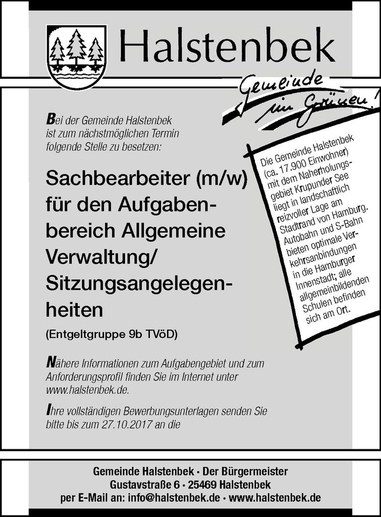 Sachbearbeiter (m/w) für den Aufgabenbereich Allgemeine Verwaltung/Sitzungsangelegenheiten