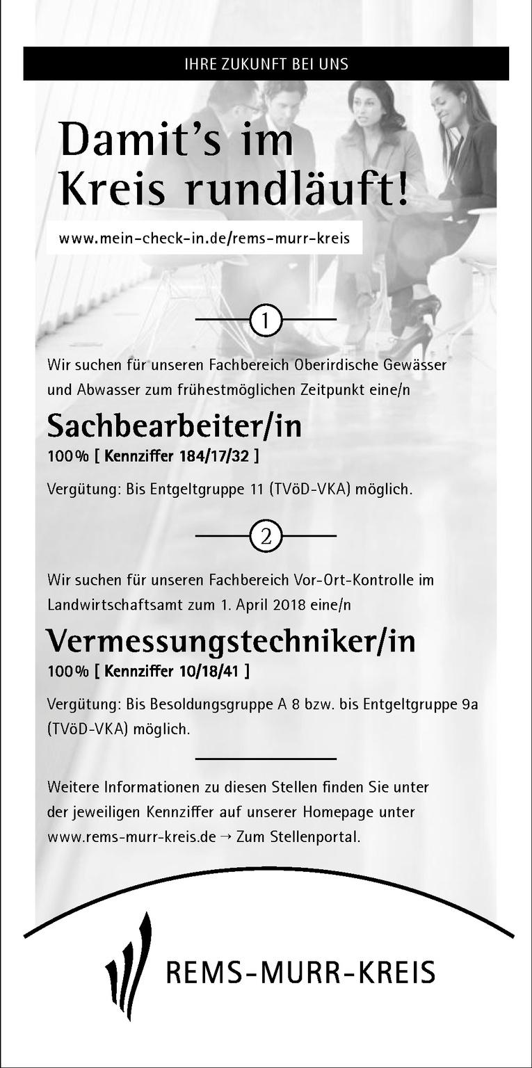 Sachbearbeiter/in 100 % [ Kennziffer 184/17/32 ]