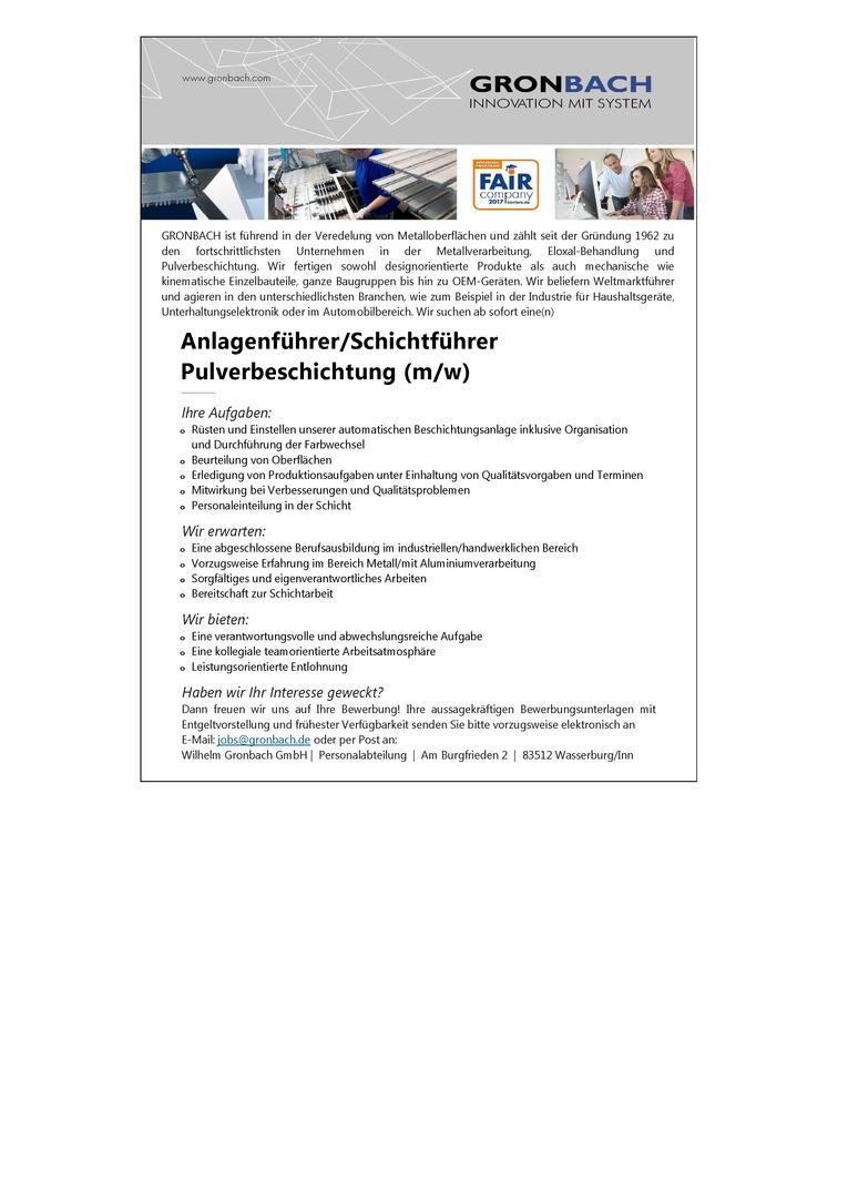 Anlagenführer/Schichtführer Pulverbeschichtung (m/w)