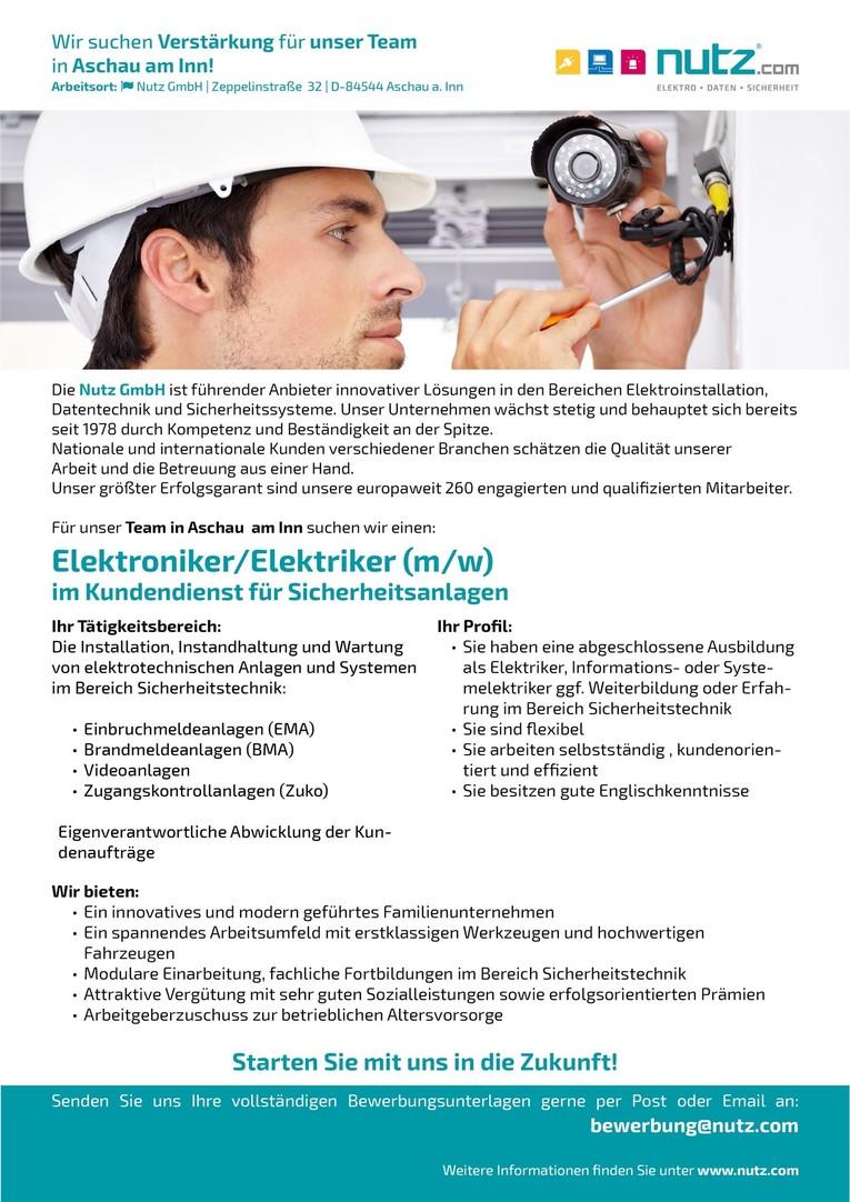Elektroniker/Elektriker (m/w) im Kundendienst für Sicherheitsanlagen