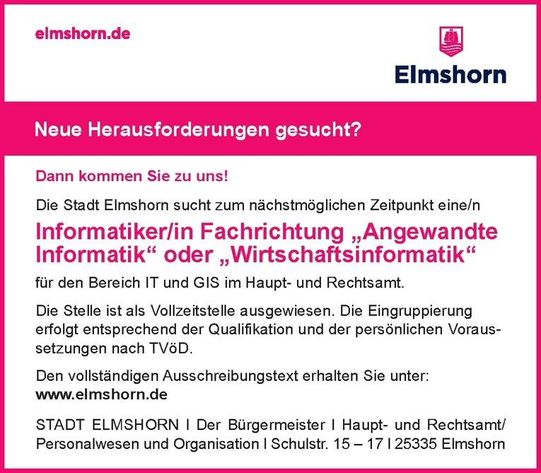"""Informatiker/in Fachrichtung """"Angewandte Informatik"""" oder """"Wirtschaftsinformatik"""""""