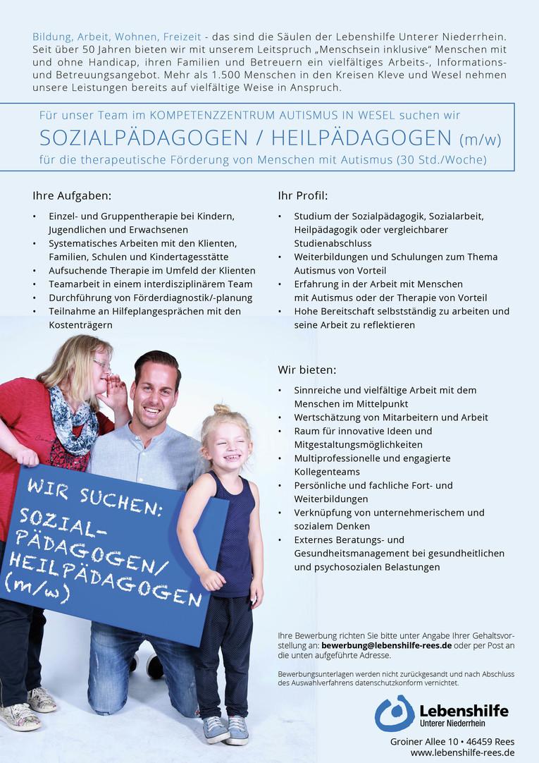 Sozialpädagogen / Heilpädagogen (m/w) für die therapeutische Förderung für Menschen mit Autismus
