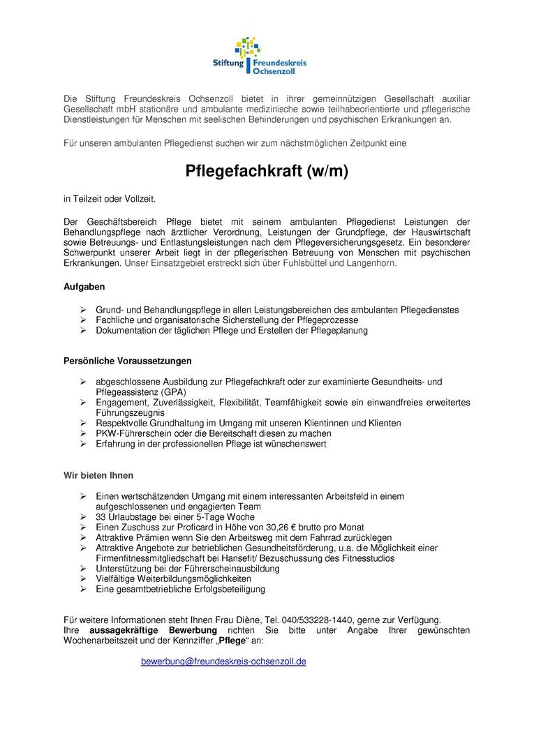Pflegefachkraft (m/w) für den ambulanten Pflegedienst Fuhlsbüttel/