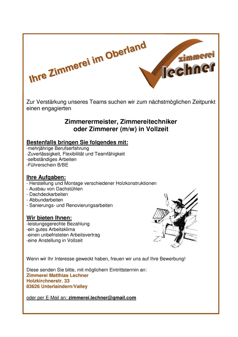 Zimmerermeister/Zimmereitechniker (m/w) in Vollzeit