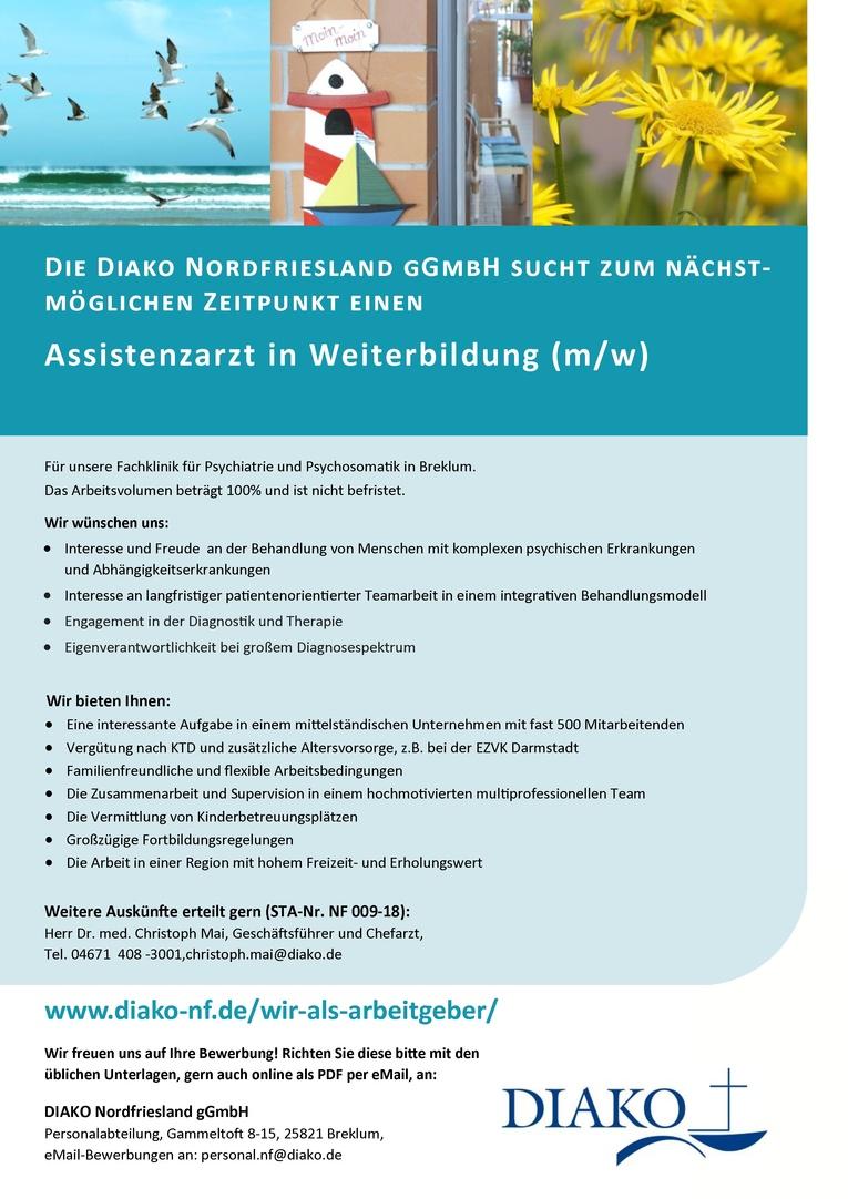 Assistenzarzt in Weiterbildung (w/m) für Psychiatrie und Psychotherapie in den Fachkliniken der DIAKO Nordfriesland gGmbH