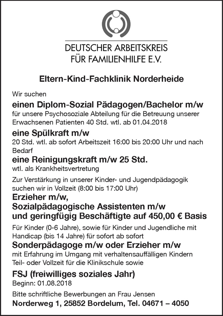 Diplom-Sozial Pädagogen/Bachelor m/w