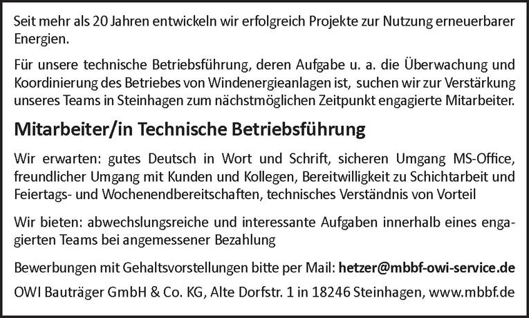 Mitarbeiter/in Technische Betriebsführung