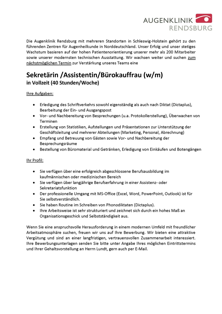 Sekretärin /Assistentin/Bürokauffrau (w/m) in Vollzeit