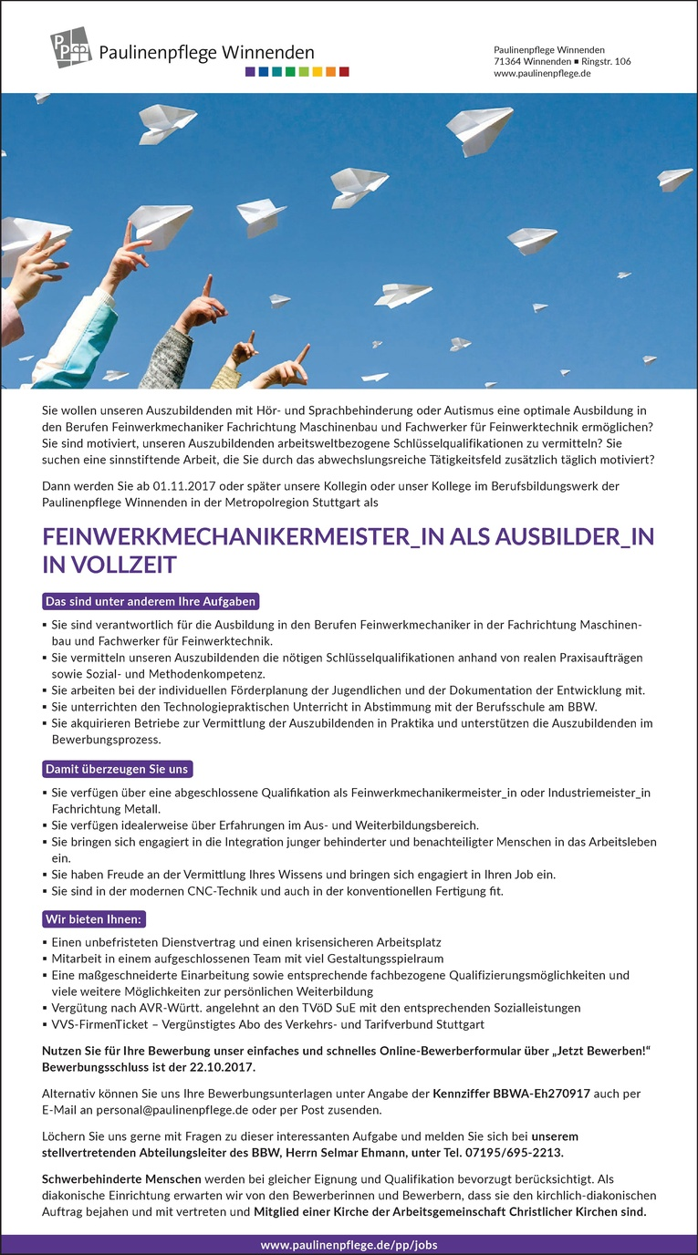 Feinwerkmechanikermeister_in als Ausbilder_in in Vollzeit