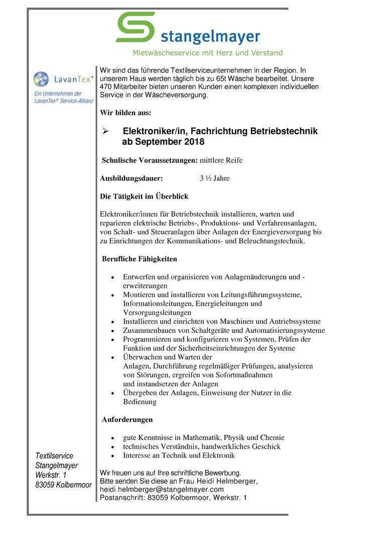 Auszubildende zum/r Elektroniker/in, Fachrichtung Betriebstechnik ab September 2018