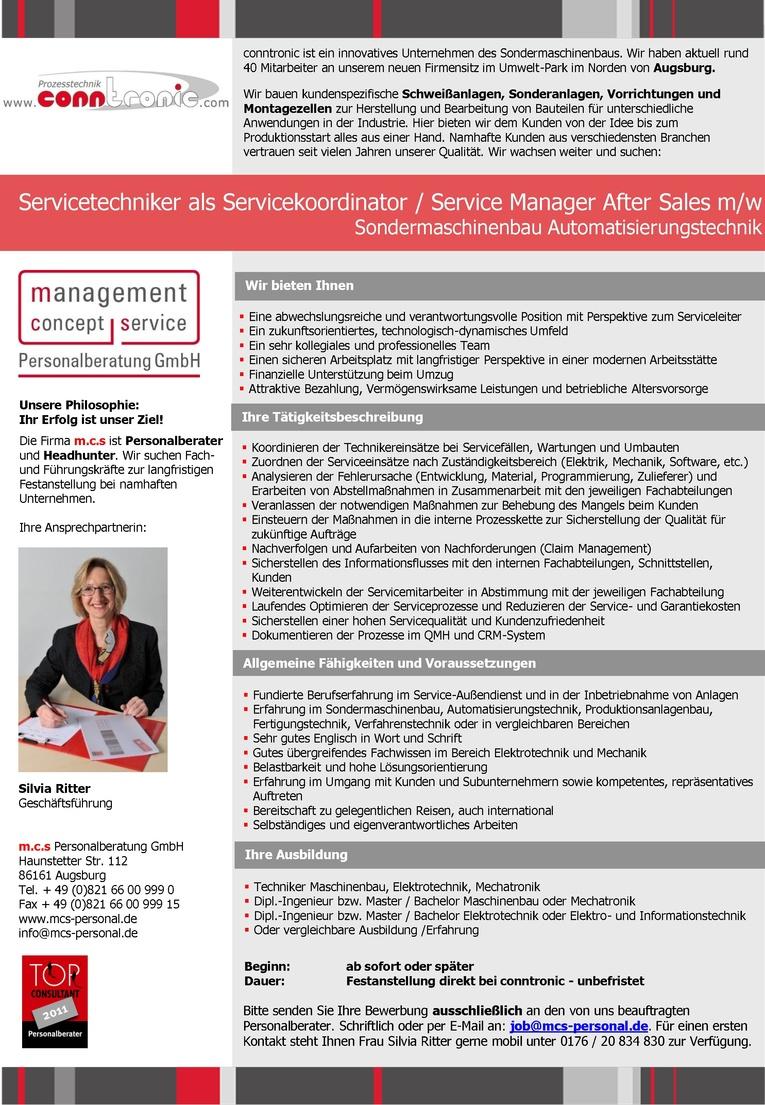 Servicetechniker als Servicekoordinator / Service Manager After Sales m/w Sondermaschinenbau Automatisierungstechnik