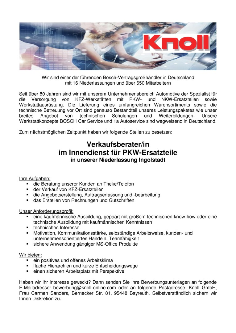 Verkaufsberater (m/w) im Innendienst PKW Ersatzteile - Ingolstadt