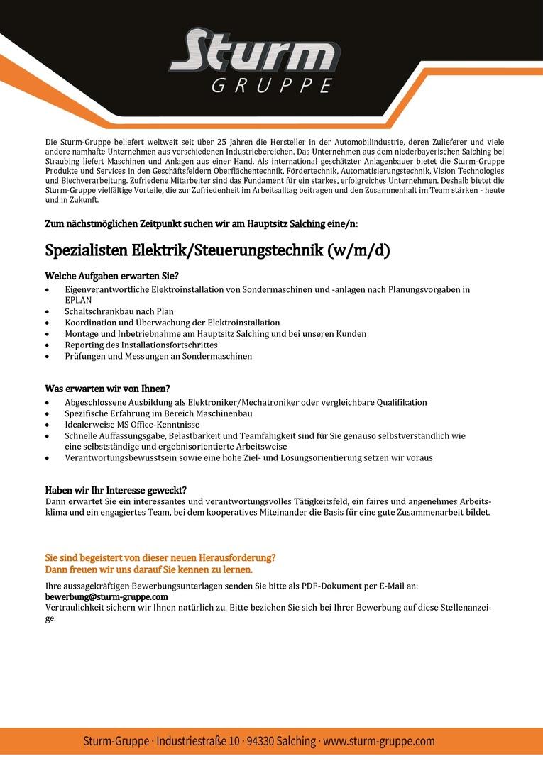 Job: Spezialisten Elektrik/Steuerungstechnik (w/m/d)