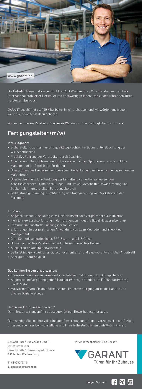 Fertigungsleiter (m/w)