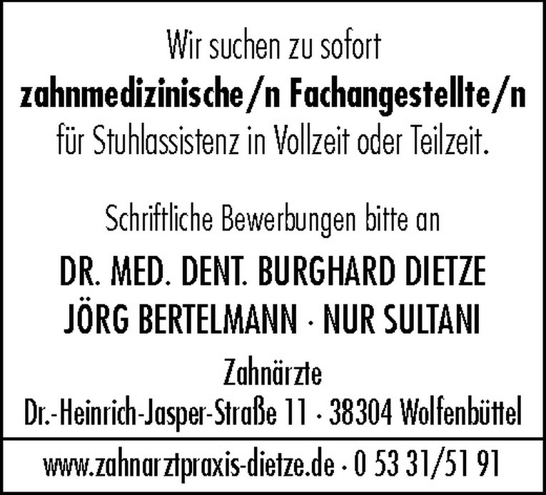 Zahnmedizinische/r Fachangestellte/r