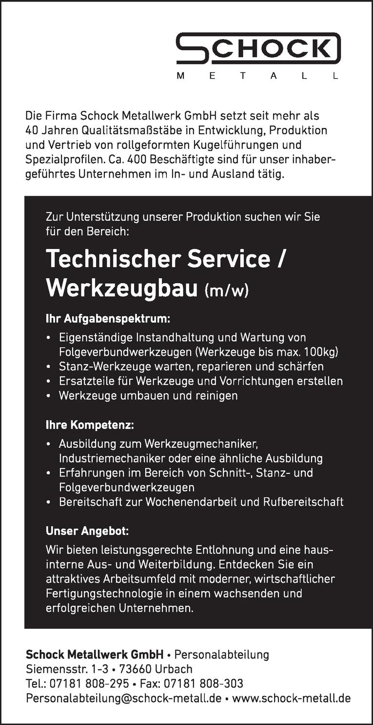 Mitarbeiter Technischer Service / Werkzeugbau (m/w)