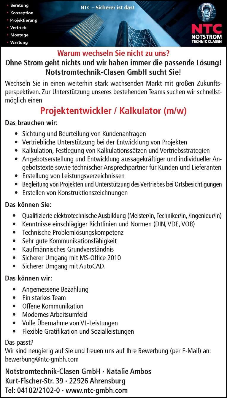 Projektentwickler / Kalkulator (m/w)