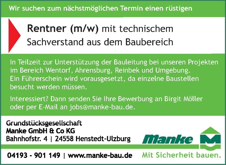 Rentner (m/w) mit technischem Sachverstand aus dem Baubereich