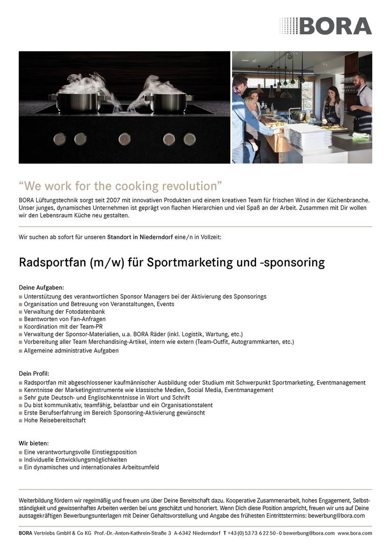 Radsportfan (m/w) für Sportmarketing und -sponsoring
