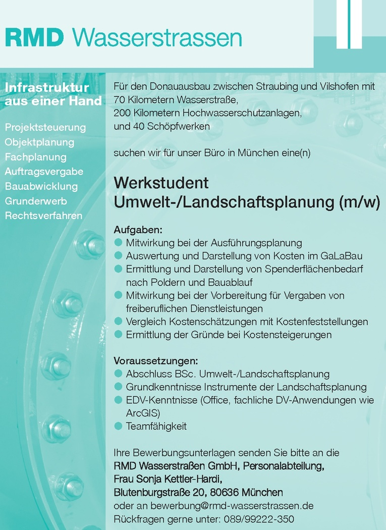 Werkstudent Umwelt- / Landschaftsplanung (m/w)