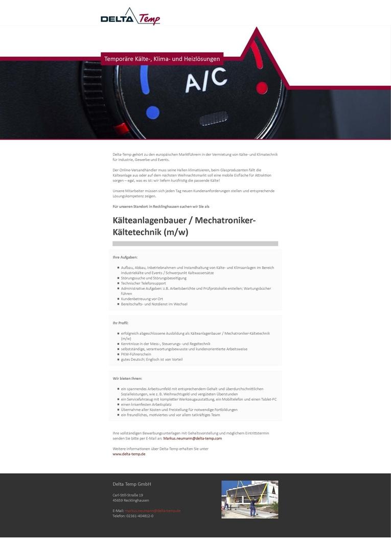 Kälteanlagenbauer / Mechatroniker‐Kältetechnik (m/w)
