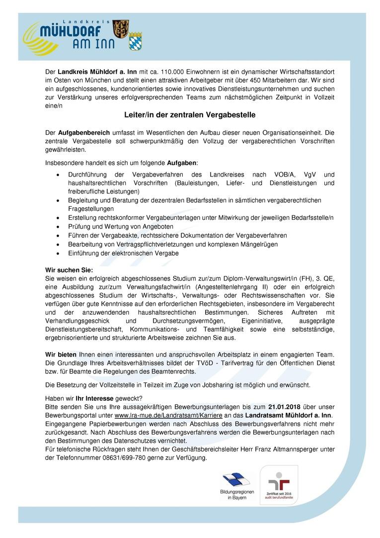 Leiter/in der zentralen Vergabestelle – Landratsamt Mühldorf (öffentlicher Dienst)