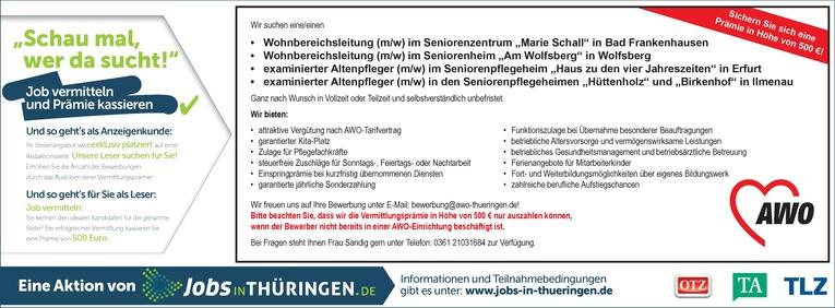 AWO Landesverband Thüringen e.V.: examinierte Altenpfleger (m/w)