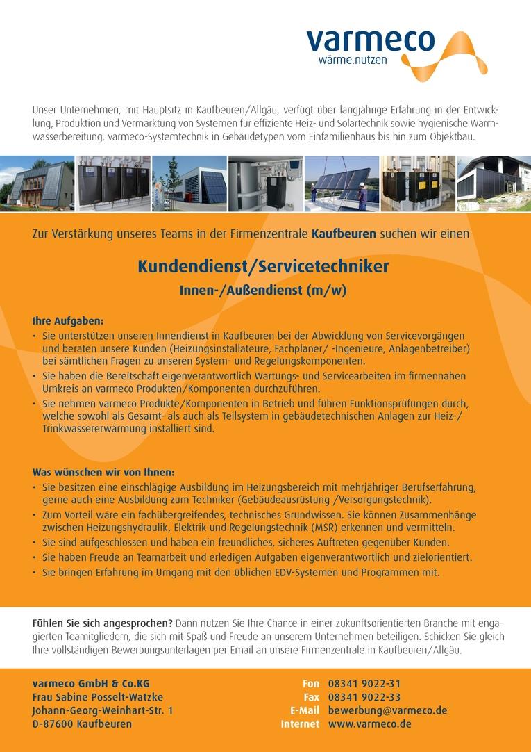 Kundendienst/Servicetechniker - Innen-/Außendienst (m/w)