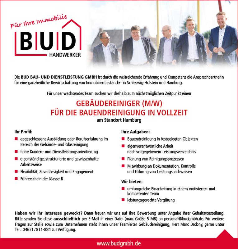 Gebäudereiniger (w/m) für die Bauendreinigung am Standort Hamburg