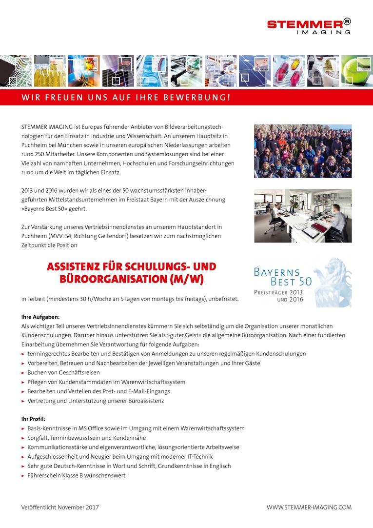 ASSISTENZ FÜR SCHULUNGS- UND BÜROORGANISATION (M/W)
