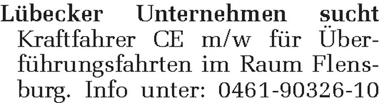 Kraftfahrer CE m/w
