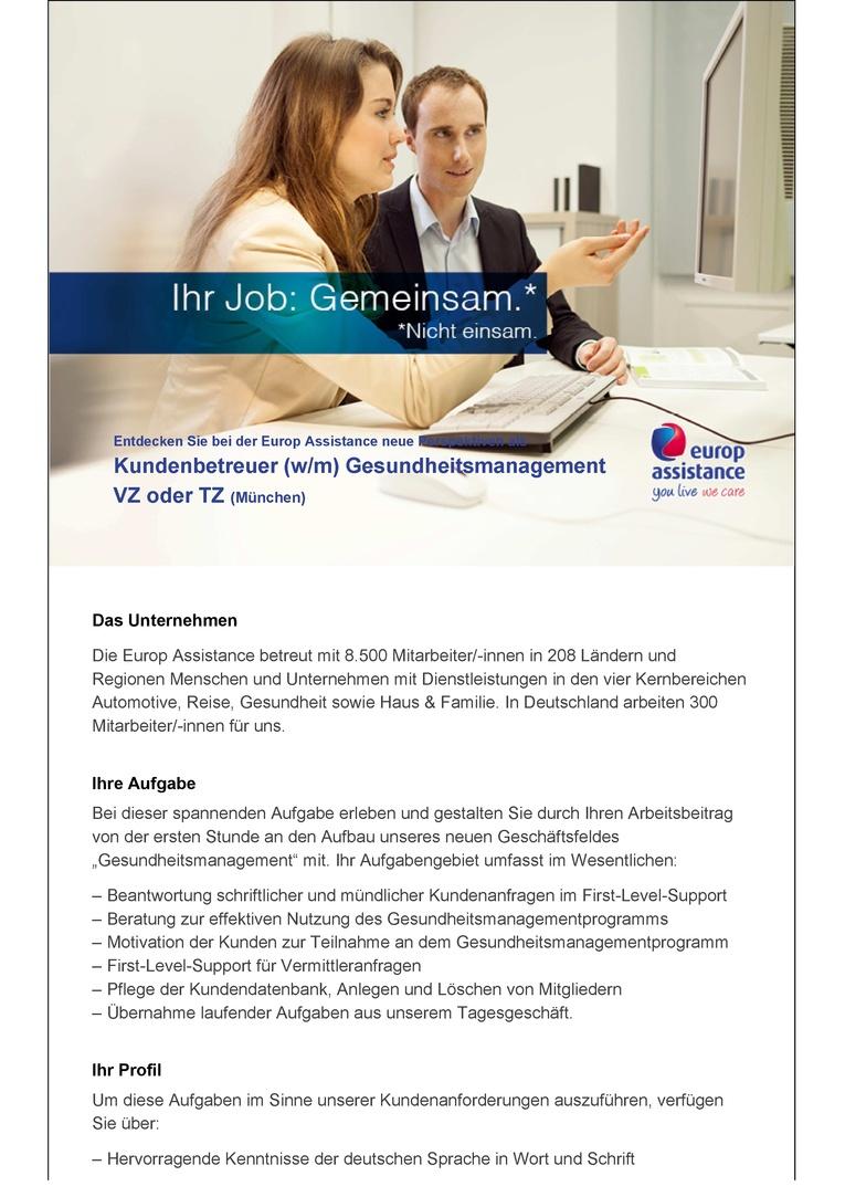 Kundenbetreuer im Bereich Gesundheitsmanagement (w/m) in Teilzeit (20 h)