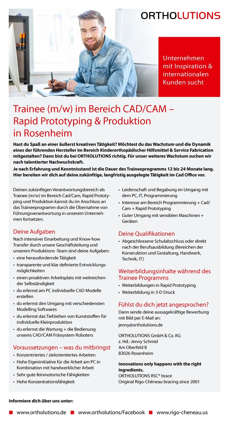 Trainee (m/w) im Bereich CAD/CAM - Rapid Prototyping & Produktion