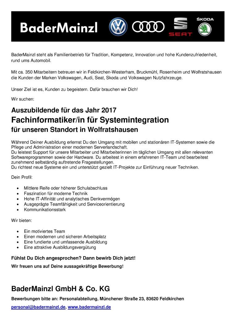 Auszubildende/Auszubildenden 2017 - Fachinformatiker / Fachinformatikerin für Systemintegration