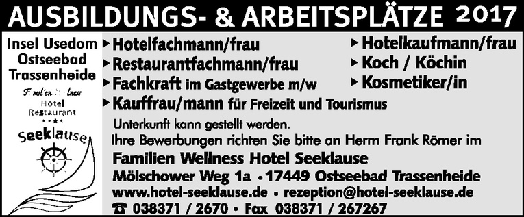 Hotelkaufmann/frau