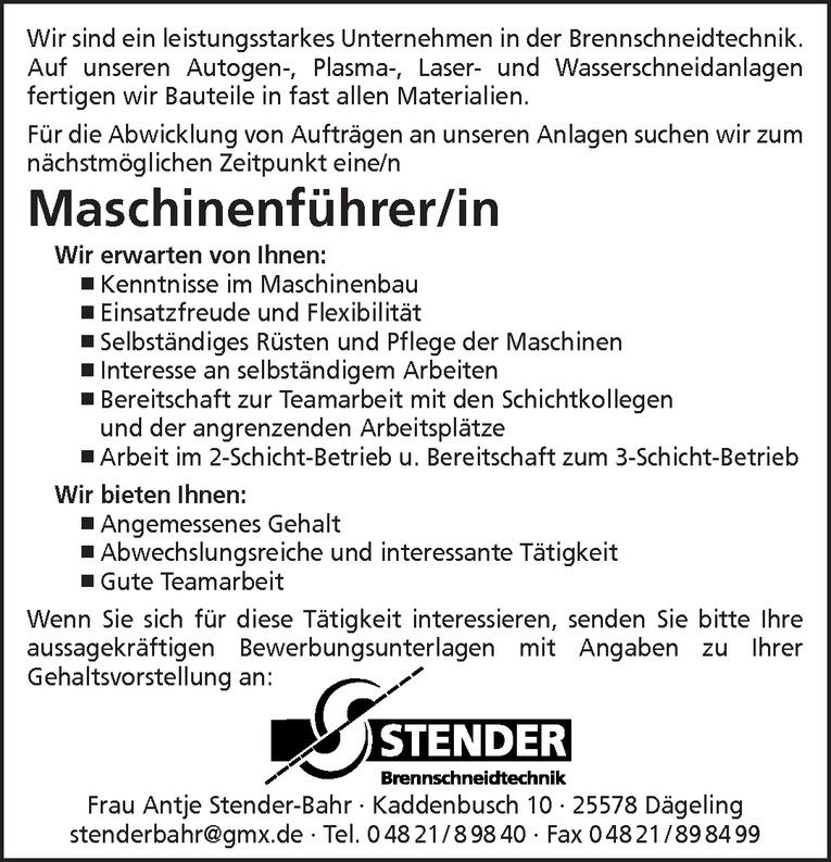 Maschinenführer/in
