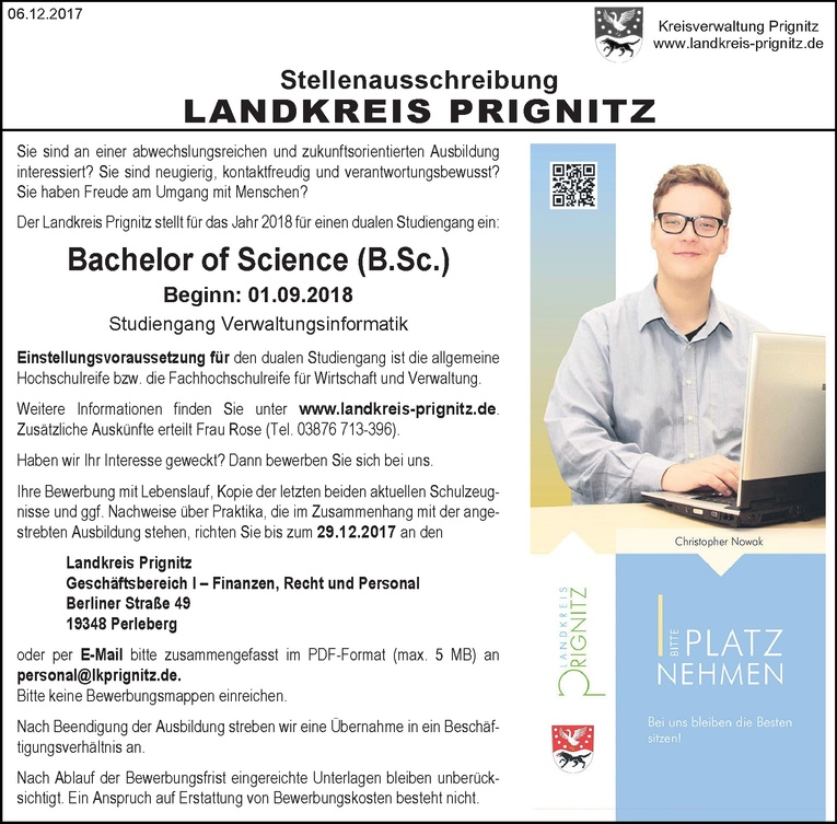 Duales Studium Bachelor of Science (B.Sc.) m/w Verwaltungsinformatik
