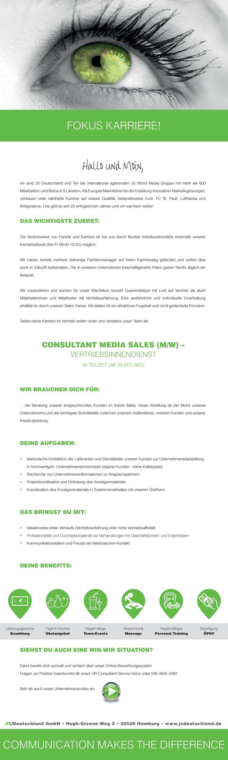 CONSULTANT MEDIA SALES (M/W) – VERTRIEBSINNENDIENST IN TEILZEIT (AB 20 STD./WO)