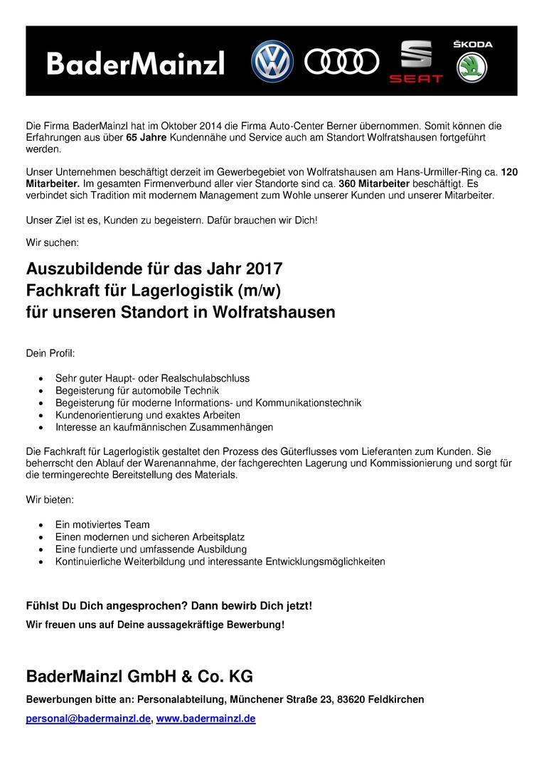Auszubildende 2017 - Fachkraft für Lagerlogistik (m/w)