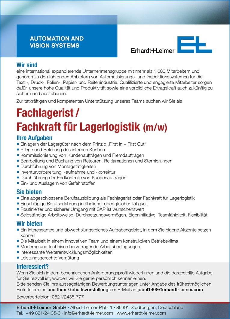Fachlagerist/Fachkraft für Lagerlogistik (m/w)