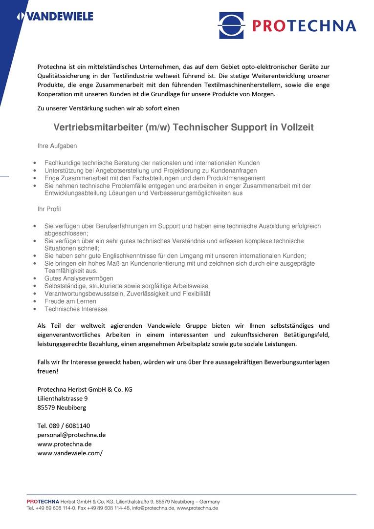Vertriebsmitarbeiter (m/w) Technischer Support in Vollzeit