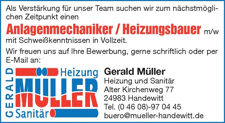 Anlagenmechaniker / Heizungsbauer m/w