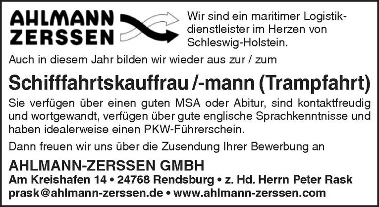 Ausbildung: Schifffahrtskauffrau /-mann (Trampfahrt)