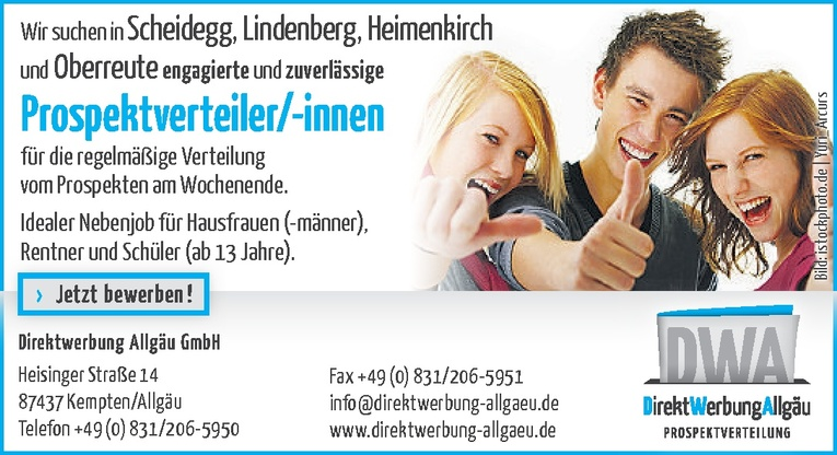 Prospektverteiler/-innen in Scheidegg, Lindenberg, Heimenkirch und Oberreute