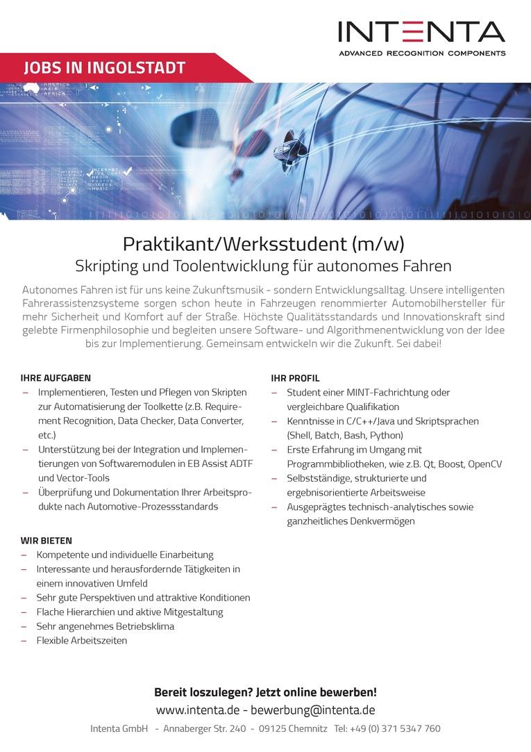 Praktikant/Werkstudent (m/w) Skripting und Toolentwicklung für autonomes Fahren