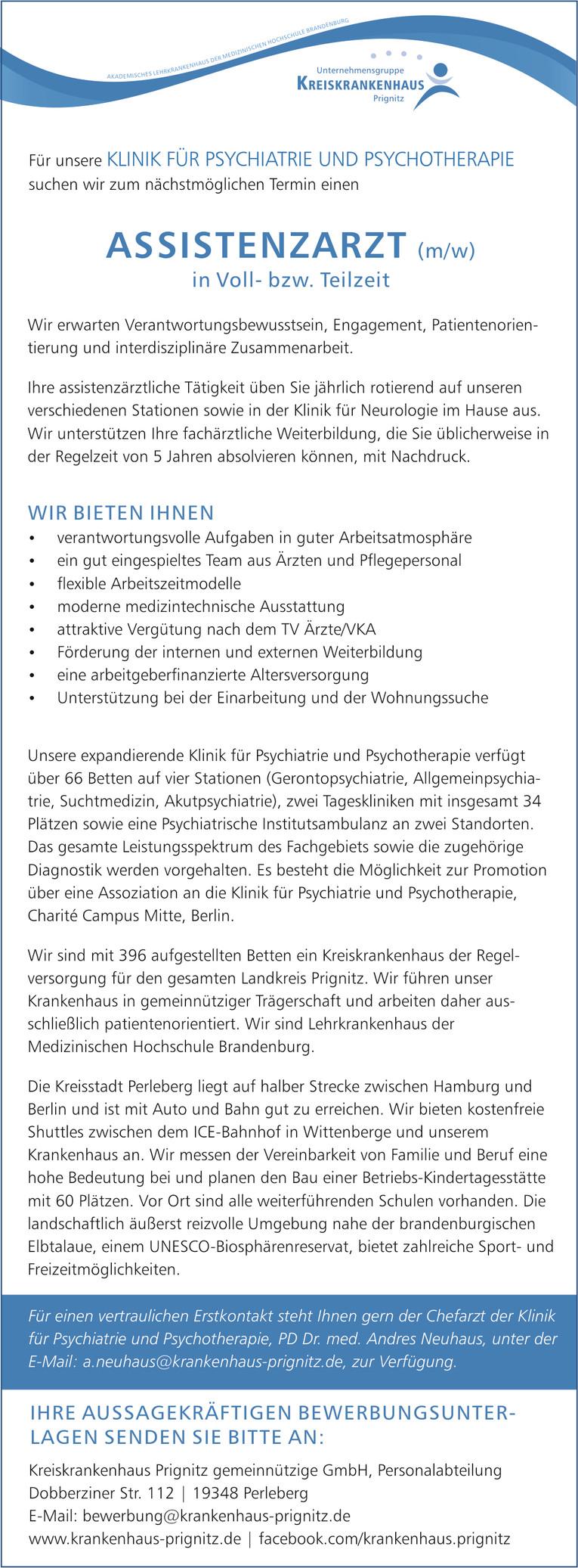 Assistenzarzt (m/w) in der Klinikf für Psychiatrie und Psychotherapie in Perleberg