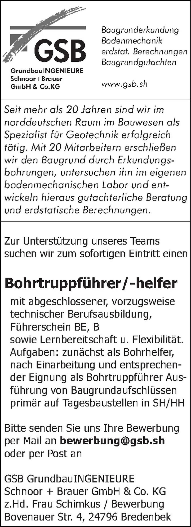 Bohrtruppführer/-helfer