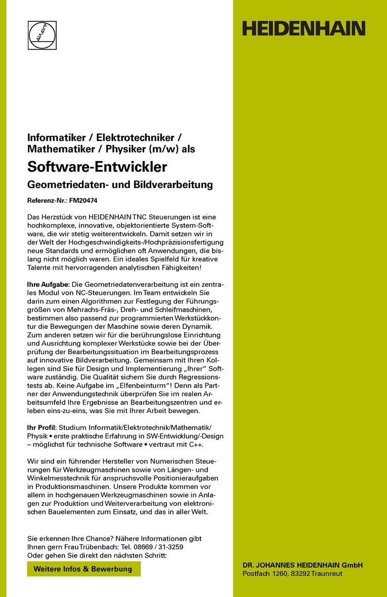 Informatiker / Elektrotechniker / Mathematiker / Physiker (m/w) als Software-Entwickler Geometriedaten- und Bildverarbeitung