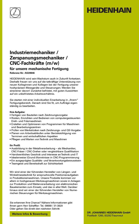 Industriemechaniker / Zerspanungsmechaniker / CNC-Fachkräfte (m/w)